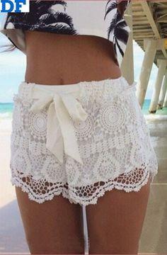 White lace shorts. Www.iwearred.com