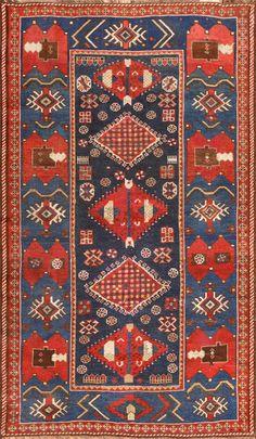 Small Antique Caucasian Kazak Rug 48719