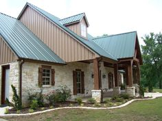 "A favorite home design in Texas ... native limestone and cedar timbers, combined with a metal roof! See more on Houzz ... ""Texas Hill Country Inspiration"" project by Trent Williams Construction Management"