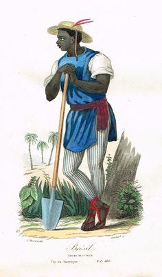 Brésil - Nègre planteur - Voyage en Amérique - Tome I page 265 - Histoire pittoresque des voyages par L.-E. Hatin - 1844 - MAS Estampes Anciennes - Antique Prints