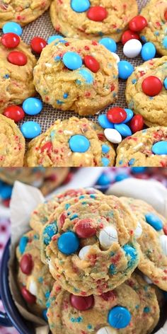 Easy Pudding Cookies filled with M&Ms and sprinkles make the best of July cookie recipe. These are brown sugar cookies with chocolate candy and everyone always loves them! 4th Of July Desserts, Fourth Of July Food, Holiday Desserts, Holiday Treats, Easy Desserts, Holiday Recipes, Easter Recipes, Easy July 4th Recipes, Flan