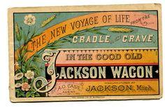Victorian era trade card from the Jackson Wagon Company in Jackson, MI
