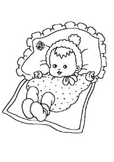 Kleurplaat van een baby die in een bedje ligt