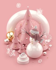 Beautiful trendy Christmas illustrations and Scene Creator in Rose Gold colors. Christmas trees with decorations. Christmas gift boxes with sparkling ribbons and bows. Glittering Christmas ball with diamonds. Christmas Gift Box, Christmas Design, Christmas Bulbs, Christmas Decorations, Xmas, 3d Modellierung, 3d Artwork, Scene Creator, Christmas Illustration