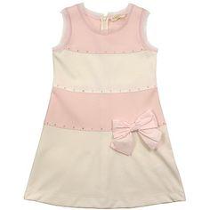 Monnalisa Cream & Pink Girls Dress - DesignerChildrenswear.com