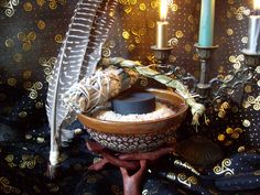 Hearth and Home Millefiori Smudge Bowl with Sweet Grass, Sage Wand, Feather House/Home Cleansing Ritual included. $26.99, via Etsy.