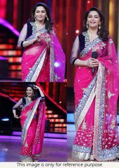 Bollywood Actress Madhuri Dixit Net Saree in Pink color