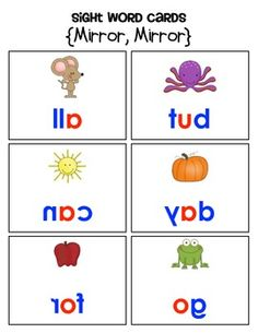 """Hide the word cards around the room, give the kids mirrors, and let the sight word fun begin!  This is a sample activity from:  """"FUN K-1 SIGHT WORD HUNTS"""" {WORD WALL WORDS, TOO!}  $"""