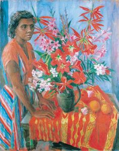 Margaret Olley / Susan with flowers 1962 / Oil on canvas / Gift of Finney Isles and Co. Art Gallery, Australian Artists, Figure Painting, Drawings, Australian Art, Australian Painting, Art, Figurative Artwork, Figurative Art