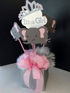 Elephant Baby Shower Centerpiece Elegant Crown Bows Elephant Birthday Party Centerpiece It's a girl it's a boy Pom Poms