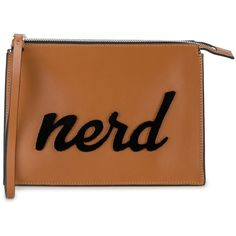 Les Petits Joueurs Nerd Leather Clutch ($285) ❤ liked on Polyvore featuring bags, handbags, clutches, brown, leather clutches, genuine leather purse, 100 leather handbags, brown leather handbags and real leather handbags
