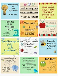 Lunchbox Notes: 50 Free Printable Sets for Every Occasion | Glamumous! MILES Y HERMOSAS