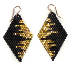 bluma project | diamond drop earrings, black/gold cityscape