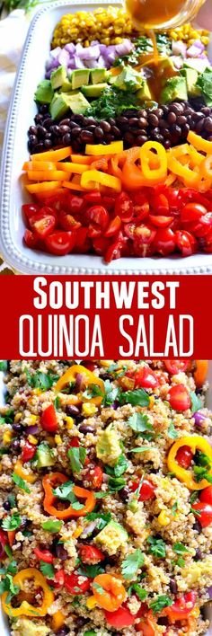 This Southwest Quinoa Salad is loaded with fresh veggies and packed with southwest flavor. The perfect side dish for any meal! I add some cider vinegar to the dressing to give it a little more zing and bring out all the other flavors. Veggie Recipes, Whole Food Recipes, Salad Recipes, Vegetarian Recipes, Cooking Recipes, Healthy Recipes, Avocado Recipes, Veggie Food, Cooking Tips