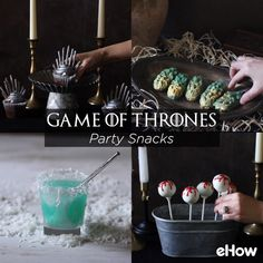 The end of a television era is here as Game of Thrones has come to and end. Celebrate the cultural phenomenon with a festive feast that pays homage to popular elements from the show. Winter is here! Game Of Thrones Food, Game Of Thrones Theme, Watch Game Of Thrones, Diy Snacks, Party Snacks, Game Of Thrones Anniversaire, Fiesta Games, Game Of Thrones Birthday, Got Party