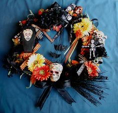 READY To Ship Halloween Day of the Dead Sugar Skull Original Creepy Cute Wreath. $75.00, via Etsy.