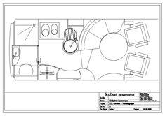Modern luxury layout plan for a Sprinter camper by Kubus Reisemobile (GER)