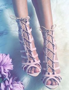 Dusty pink strappy heels