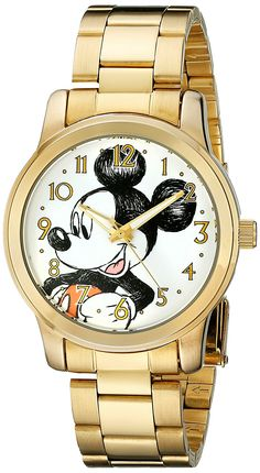 Disney Unisex W001844 Mickey Mouse Analog Display Analog Quartz Gold Watch *** Want to know more, click on the image. (This is an Amazon Affiliate link and I receive a commission for the sales)