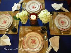 Tablescape idea in red, blue, and tan, showing retail store and thrift store finds, along with a treasured family heirloom.
