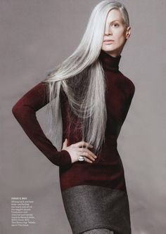 """You've got to keep moving forward. You can get older and still be rock-'n'-roll. I thought all that gray hair would make a beautiful picture."" -Kristen McMenamy, model"