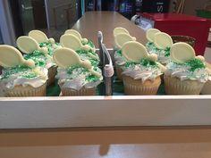 Tennis cupcakes! Ghiradelli chocolate tennis racquets
