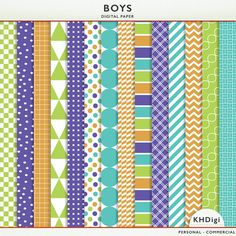 40% OFF SALE - Digital Paper - Boys -  Blue Green Purple Orange  -Instant Download Cardstock P7151