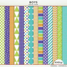 40% OFF SALE - Digital Paper - Boys -  Blue Green Purple Orange  -Instant Download Cardstock P7151