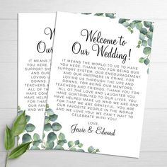Eucalyptus Leaves Wedding Welcome Letter - Give your guests a warm welcome with our personalized welcome letters! We personalize, print and ship for you! - Designed By M.E. Stationery