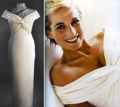Princess Diana wore this classic formal dinner dress made of ivory silk crepe to a state banquet for the King and Queen of Malaysia in 1993.