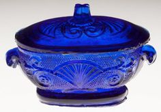PRESSED LACY SMALL TOY TUREEN AND COVER, deep sapphire blue, various fan, lily, scroll, star and diamond design elements. Boston & Sandwich Glass Co. 1835-1850. 2 HOA, 1 7/8 x 3.