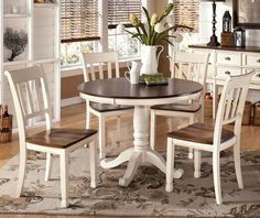 Whitesburg Round Dining Room Table & 4 Side Chairs by Signature Design by Ashley. Get your Whitesburg Round Dining Room Table & 4 Side Chairs at Kerby's Furniture, Mesa AZ furniture store. White Round Dining Table, Round Dining Table Sets, Small Kitchen Tables, Pedestal Dining Table, Dining Tables, Kitchen Dining, Vintage Kitchen Tables, Small Dining Rooms, Farmhouse Round Dining Table