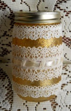 Glittering Gold Painted Mason Jar with Lace by TreasuresByCher, $12.00