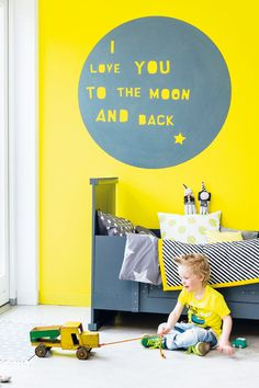 Yellow and grey kid room
