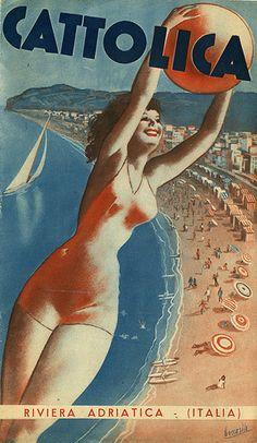Vintage Italian Posters ~ #illustrator #Italian #vintage #posters ~ Depliant di Cattolica