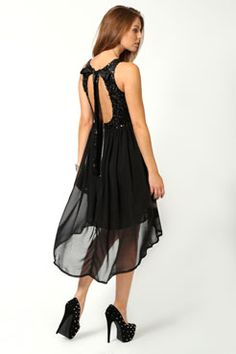 Jess Sequin Top Open Back Chiffon Dip Hem Dress at boohoo.com I have this in the Blush colour and love it!