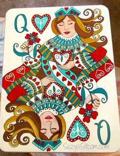Queen of hearts, decorative painting, pdf pattern Queen Of Hearts Tattoo, Queen Of Hearts Card, Queen Of Spades, Heart Cards, Painting Patterns, Deck Of Cards, White Patterns, Drawings, Queen Queen