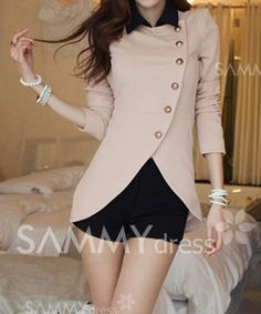 Ladylike Style Long Sleeves Irregular Solid Color Single-Breasted Coat For Women