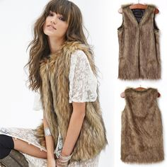 Hotsale!! Fashion Women Faux Fur Waistcoat Vest Jacket Coat Sleeveless Outwear