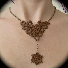 Tatted Lace and Chain Necklace - Flower Fall - Brown and Brass. $30.00, via Etsy.