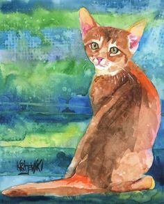 Abyssinian Cat Art Print of Original Watercolor Painting - 8x10, available on Etsy.  This open edition art print is from an original painting by Ron Krajewski. $12.50  Art print measures 8x10 inches and is printed on museum quality heavy weight textured fine art paper.