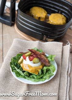 Keto Bacon Cheddar Stuffed Air Fryer Burgers