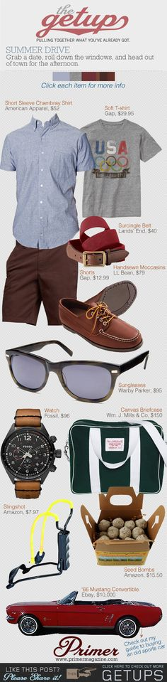The Getup: Summer Drive - Primer. I thought those seed bombs were donut holes. Sharp Dressed Man, Well Dressed, Summer Outfits, Casual Outfits, Fashion Outfits, Summer Clothes, Style Masculin, Jamel, Men's Wardrobe