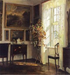 Carl Vilhelm Holsoe, A Sunlit Interior, Oil on canvas, Private collection