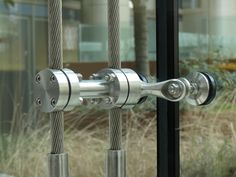 insulating rotules, cable wall, Point supported glass system (PSG) Glass Wall Design, Glass Facades, Fixation, Ground Floor, Architecture Details, Door Handles, Hardware, Metal, Products