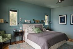 contemporary bedroom by Natasha Barrault Design-blue, green & purple