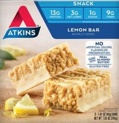 Atkins Gluten Free Snack Bar, Lemon Bar, Keto Lemon (Lemon, 5 Count (Pack of Atkins Snacks, Atkins Diet, Keto Snacks, Keto Foods, Almond Butter Snacks, Peanut Butter Chocolate Bars, Low Carb Keto, Low Carb Recipes, Diet Recipes