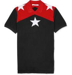 GivenchyCuban-Fit Star-Embroidered Cotton-Piqué Polo Shirt