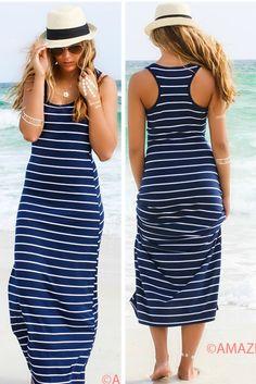 Look My Way Navy Stripe Jersey Racerback Maxi Dress