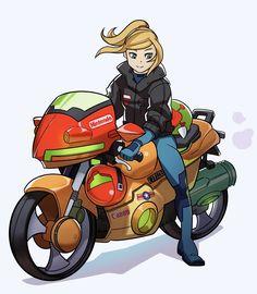Metroid motorcycle, Samus Aran, Metroid series artwork by Splash Brush.